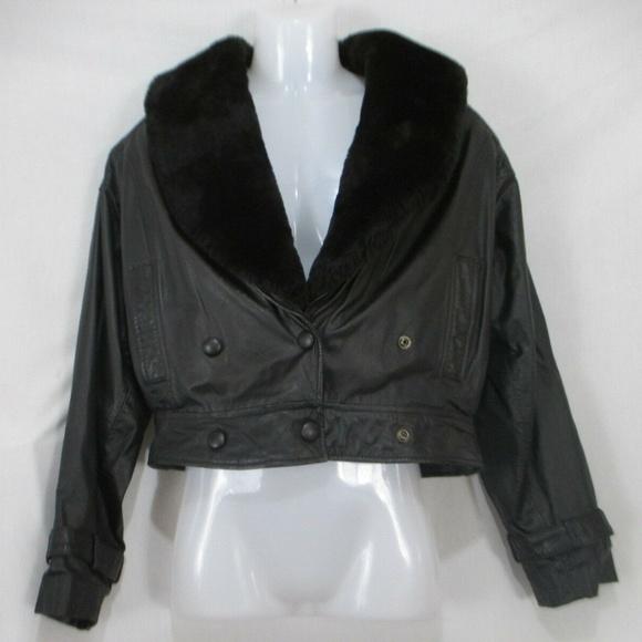 PELLE CUIR Jackets & Blazers - PELLE CUIR Cropped Leather Mouton Fur Gray Jacket